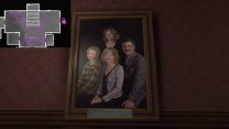 9. Above the answering machine, we get our full cast: eldest daughter Katie, younger daughter Sam, mom Jan, and dad Terry.