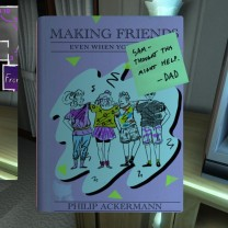 "13. Picking up the copy of the awesomely-titled Making Friends, Even If You're Shy, so embarrassingly recommended to Sam by her dad, prompts Sam's September 13, 1994 journal entry, ""Big Gold Star."""