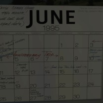 25. And right nearby a calendar with the date of the marriage: June 4. Hmm, that was just two days ago. Also, it looks like Jan and Terry didn't make it. They're on an anniversary trip, which finally explains their absence for Kaitlin's return.