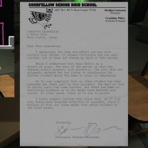 "15. Picking up this letter, a reply to what was apparently a letter from Sam to the school principle Mr. Grossman asking for Lonnie not to be disciplined, prompts Sam's April 10, 1995 journal entry ""Getting Lonnie."""