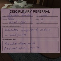 17. A disciplinary referral and a note from Sam's parents.
