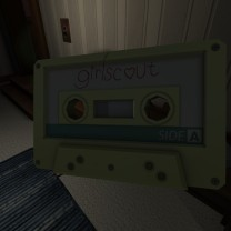 Entering the TV room, we find the first of what will ultimately be five cassette tapes in the game. Each cassette tape comes with a player near by, so you can pop it in and start listening. (If you see a tape player, that's a good indication that you should start looking for a cassette tape, as well.) Unlike Heavens to Betsy and Bratmobile, Girlscout is not a real Riot Grrrl band. It is Lonnie's fictional in-universe band.