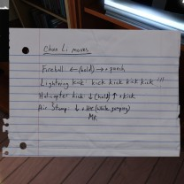 Beneath the TV stand, Sam's notes on Chun Li moves provide evidence of her training regimen while using Street Fighter II as a way to court Lonnie.